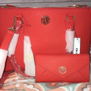 Red DKNY Handbag with matching wallet